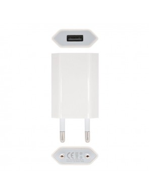 MINI CARGADOR USB PARA IPOD IPHONE,5V-1A, BLANCO